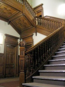 Photograph of the wooden panelling and stair at Seafield House